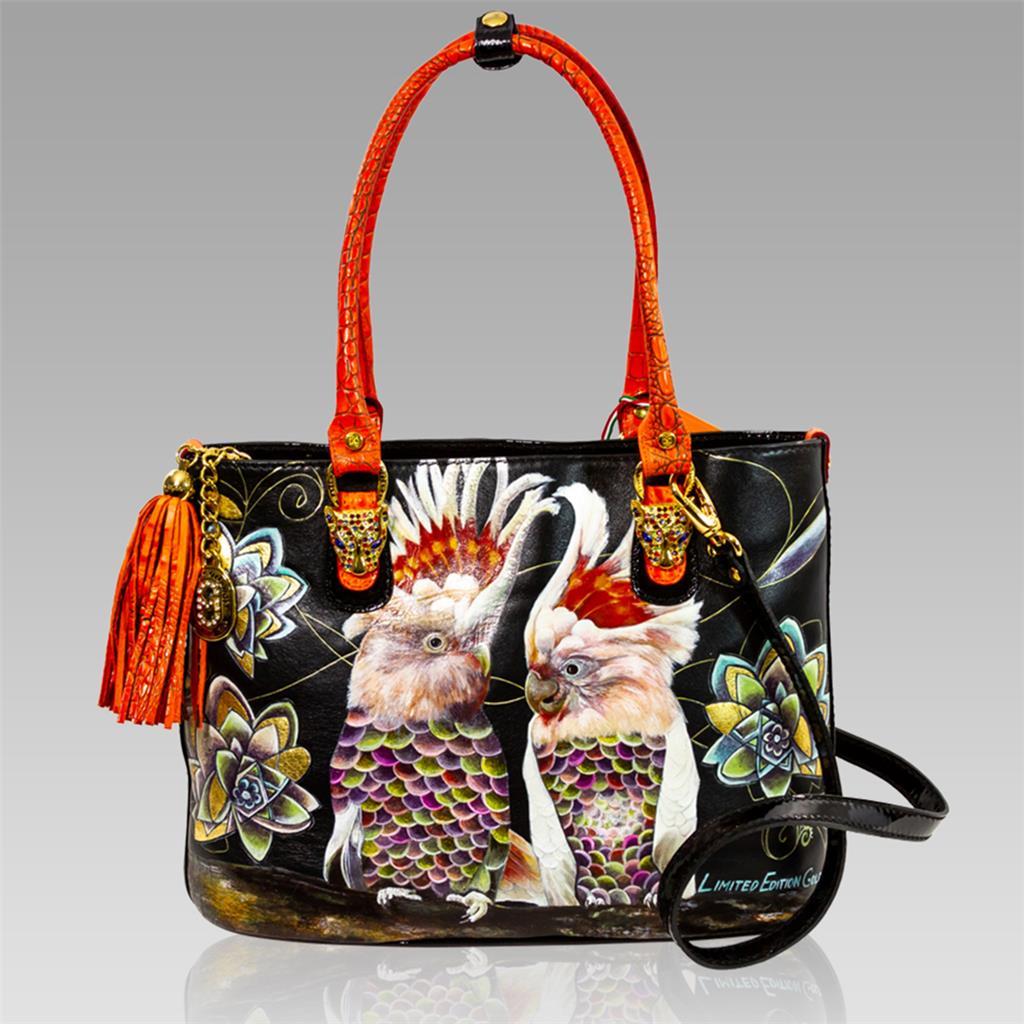 Details about Marino Orlandi Italian Designer Handpainted PARROTS Leather  Tote Crossbody Bag 98efae5cc7f70