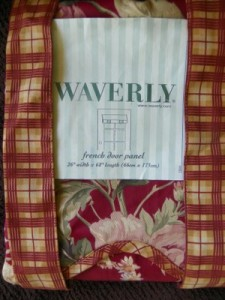 Waverly French Door Panel Fairfield Rose W Plaid Roll Up