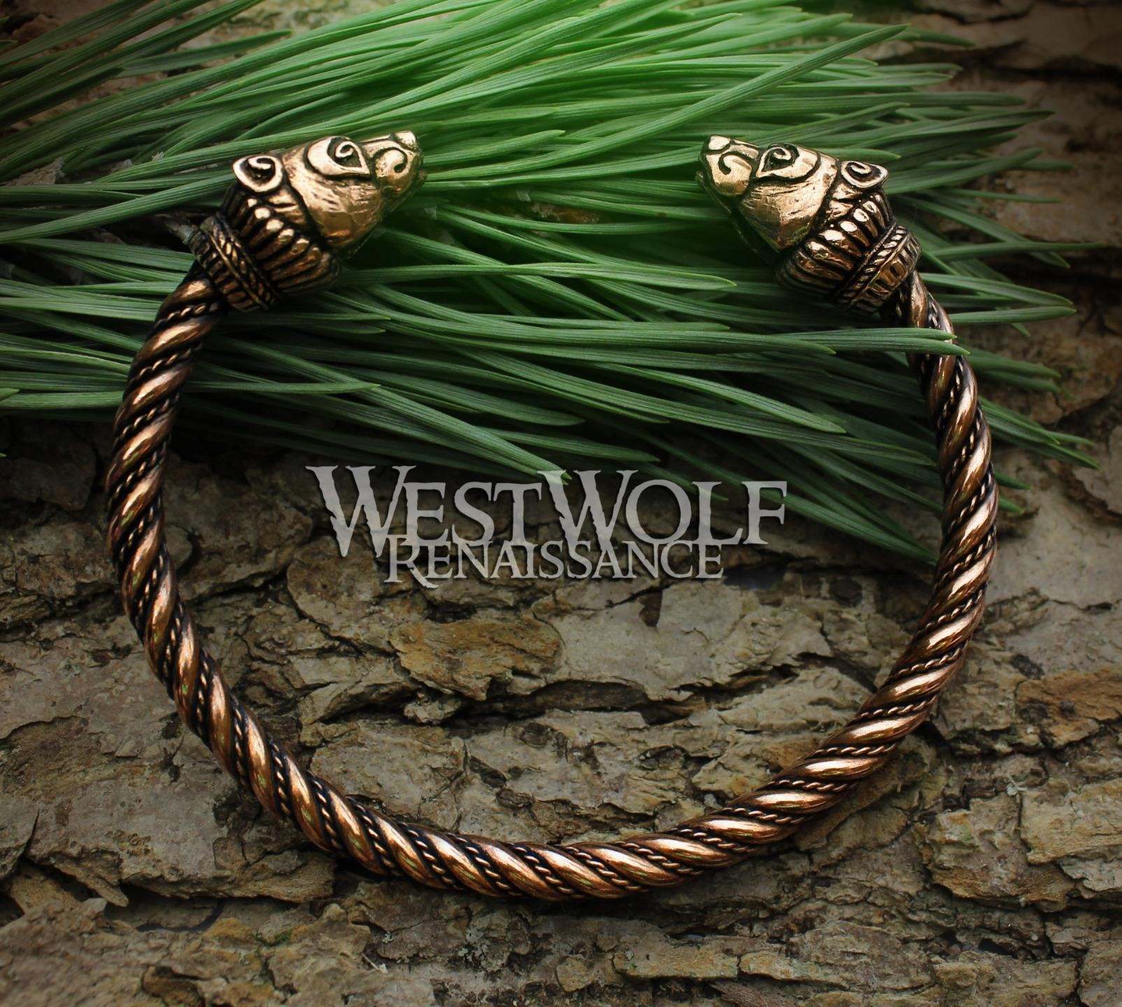 1654bac5f14e8 Details about Bronze Viking Bear Bracelet / Torc - Berserker Arm Ring ---  Norse/Celtic/Jewelry