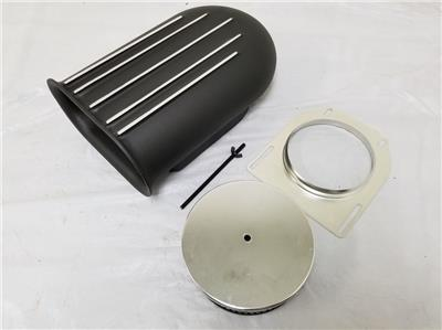 4 Barrel BLACK Aluminum Hilborn Style Carb Finned Air Cleaner Hood Scoop Kit NEW