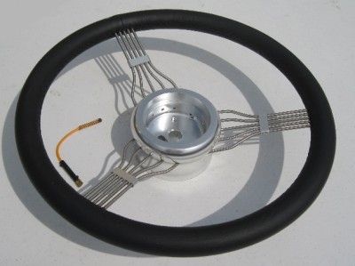 """15/"""" Banjo Style Steering Wheel in Black Leather with Adapter BANJO-BL"""