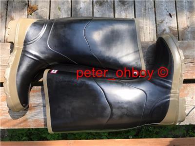 Bnwt Hommes Bullseye Hood Noir Caoutchouc Wellington Farm Bottes Plein Genou Taille 8