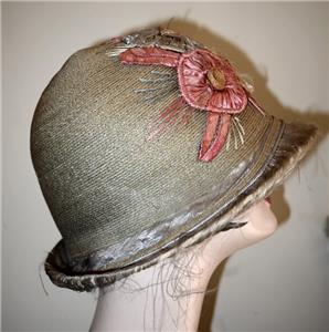 ed7f409e1 Authentic Vintage 1920's Straw and Floral Cloche Bucket Hat   eBay