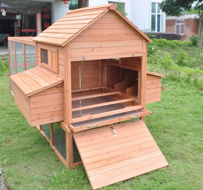 Nice Deluxe 12u0027 Wood Chicken Coop Backyard Hen House 6 Nesting Box U0026 Run 6 11  Chicken | EBay