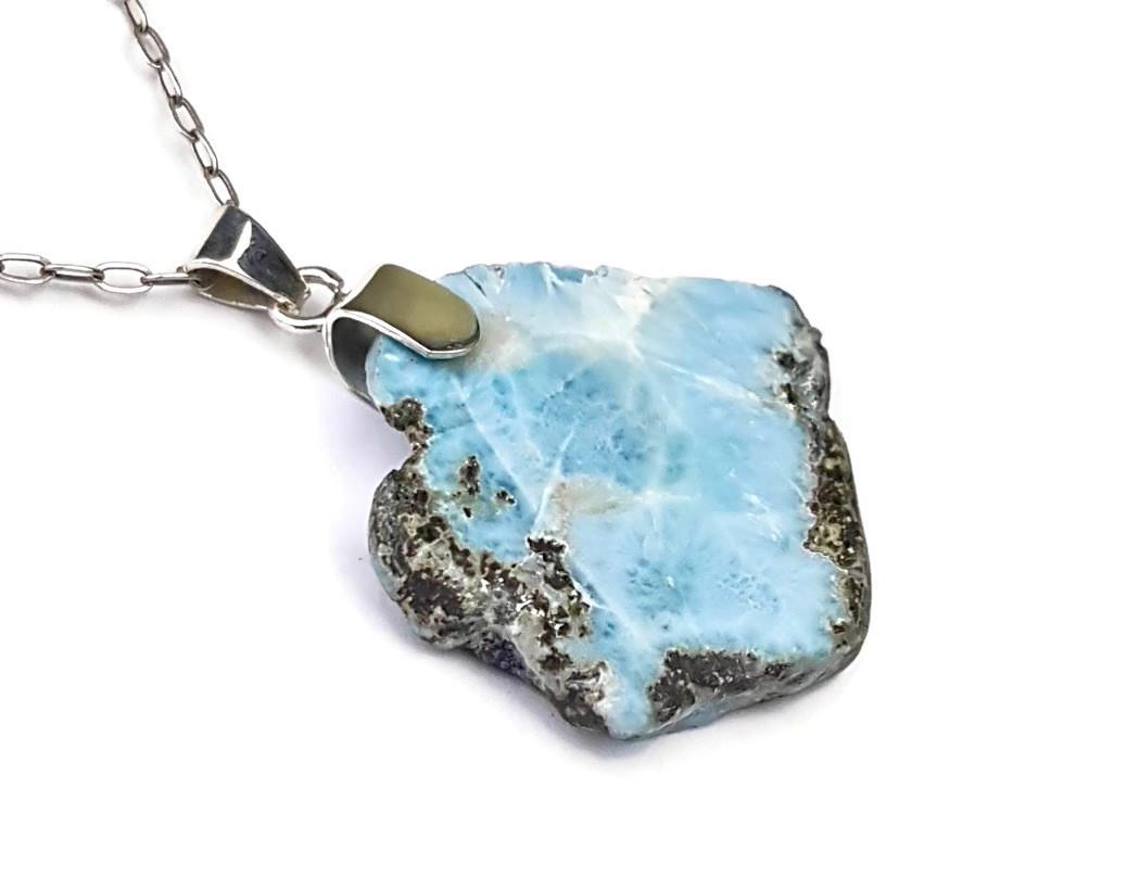 2.1  inches  Beautiful Dominican Nice  Blue  Larimar Stone Pendant Handcrafted