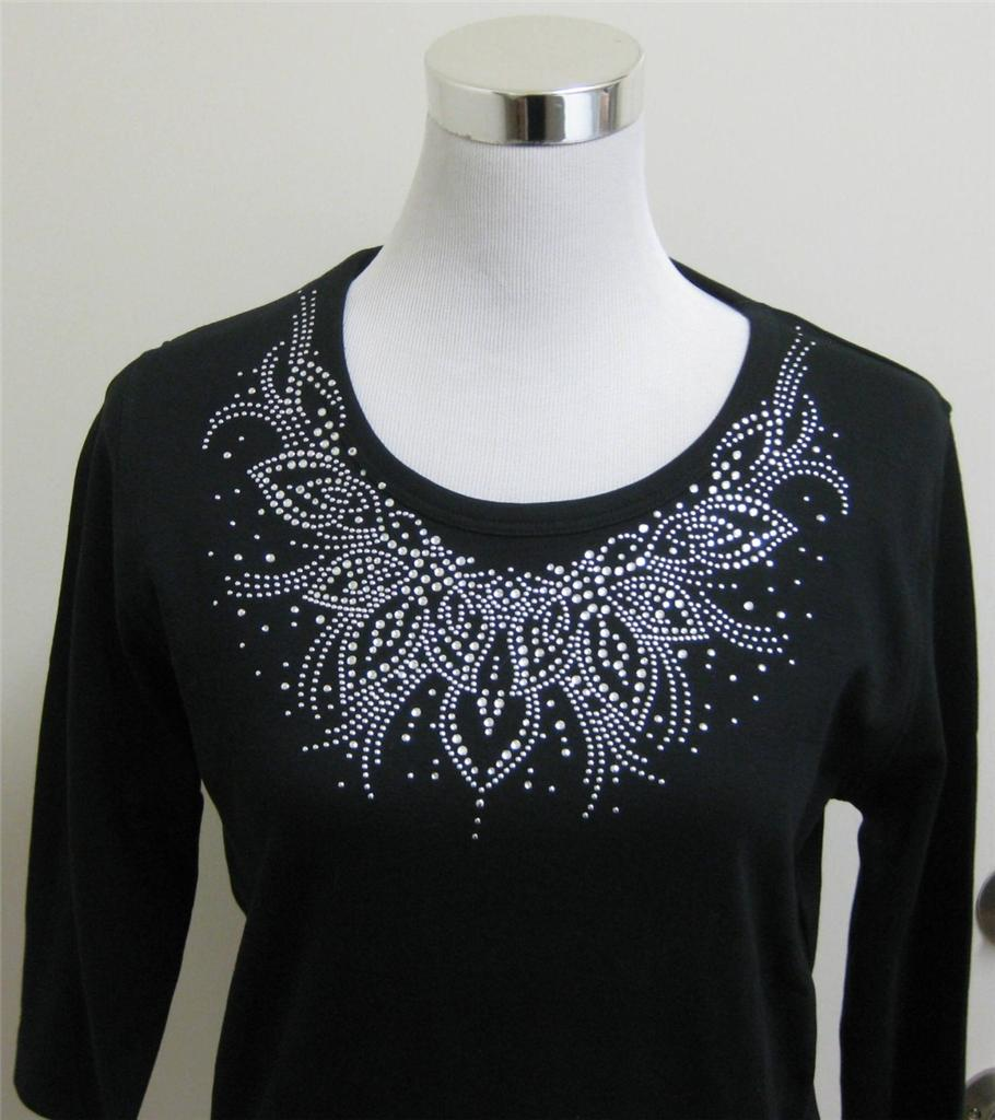 Isaac's Designs Soft Knit Top Tee T-Shirt Black Rhinestone