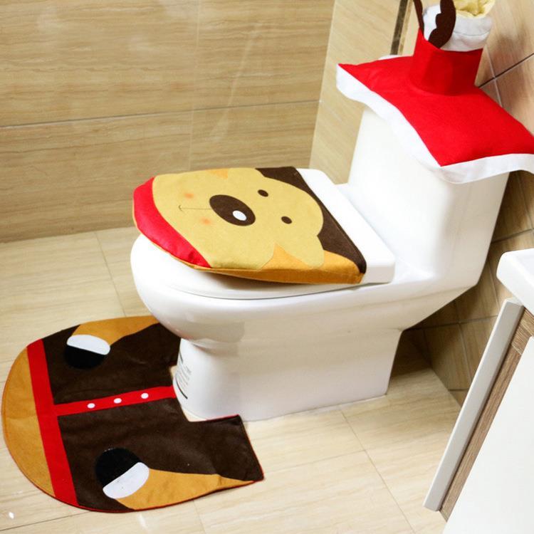 badezimmer set weihnachtsdeko santa toiletten sitzbezug tank deckel teppich ebay. Black Bedroom Furniture Sets. Home Design Ideas