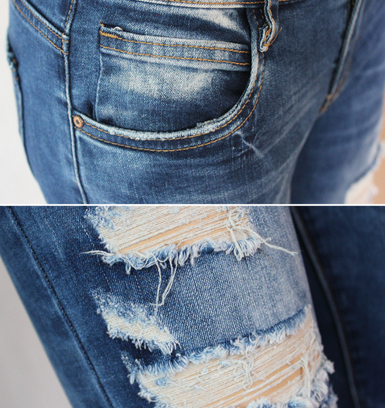 frauen l cher bleistifthose jeans distressed zerrissene. Black Bedroom Furniture Sets. Home Design Ideas
