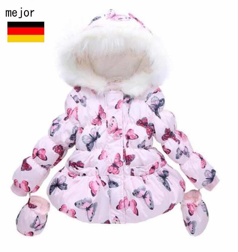 kinder m dchen butterfly warme mantel winterjacke wintermantel steppjacke parka ebay. Black Bedroom Furniture Sets. Home Design Ideas
