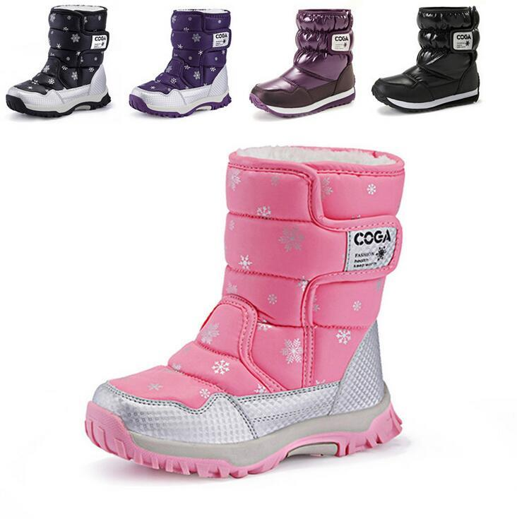 kinder schneestiefel gef tterte winterstiefel winter wasserdichte winterschuhe ebay. Black Bedroom Furniture Sets. Home Design Ideas