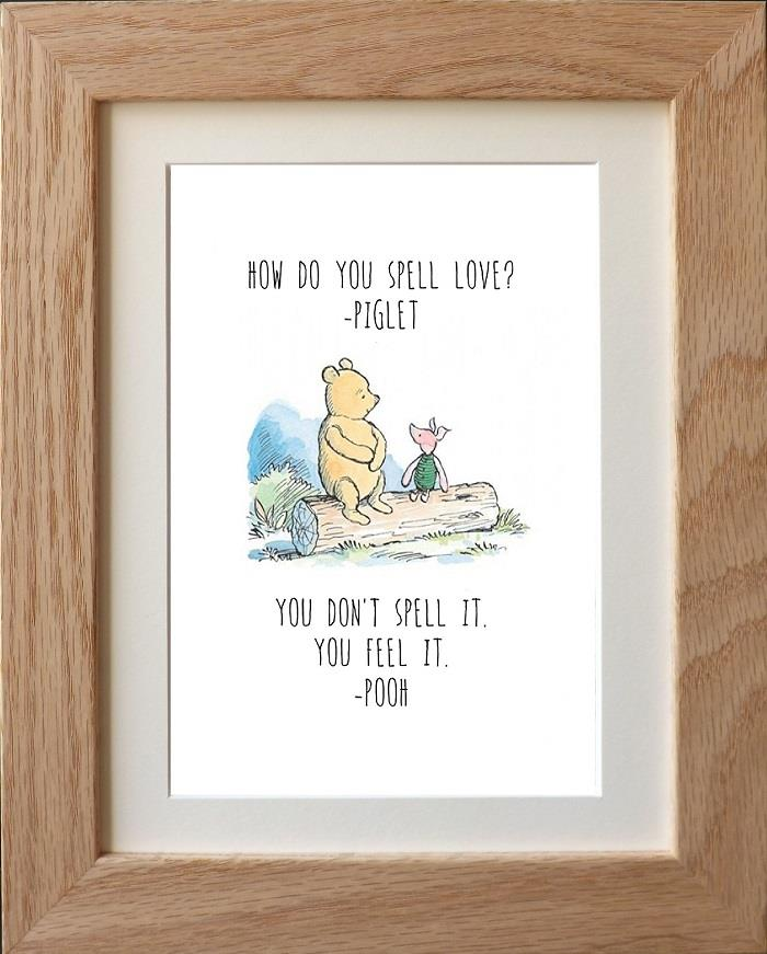 Winnie The Pooh Quote Art: CLASSIC WINNIE THE POOH QUOTE PRINTS WALL ART X 4 DESIGNS