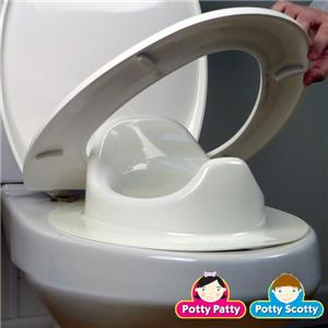 The Toilet Seat II is designed to fit between the toilet and ring  thus does not move at all Potty Patty Scotty Training Elongated Toddler White