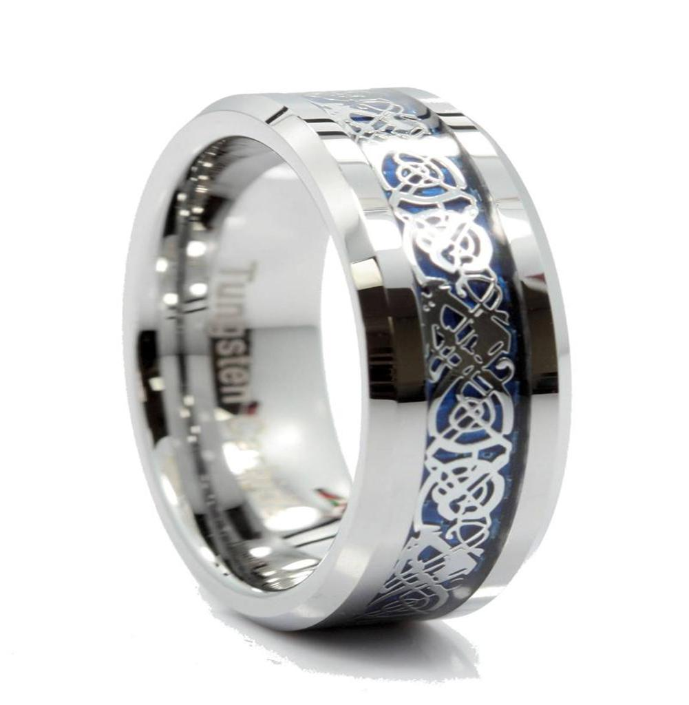 New 8mm Tungsten Carbide Ring Blue Celtic Dragon Men Women