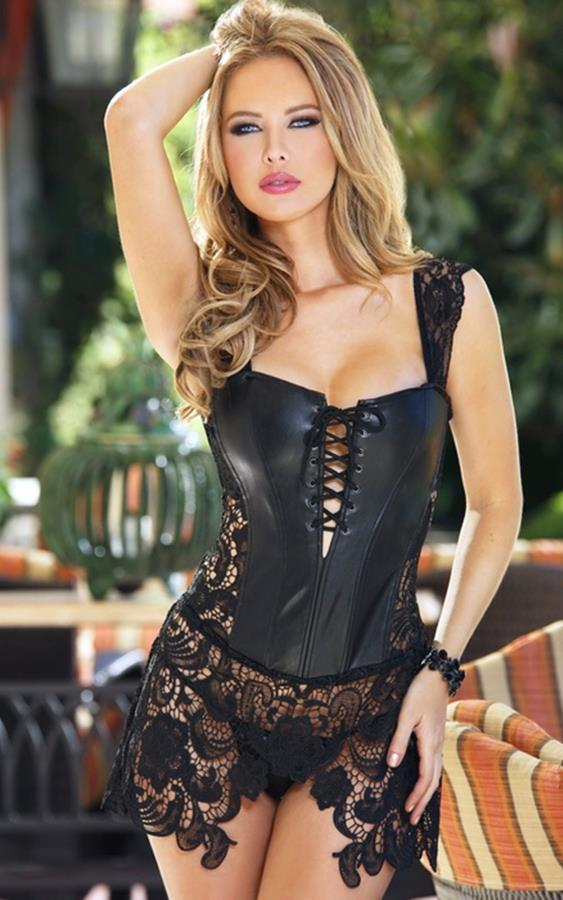 2380c596331 Basques Cap Sleeves Faux Leather Venice Lace Corset - 9 sizes- PLUS ...