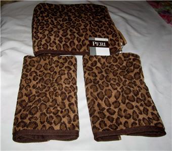 Peri Leopard Print 3 Piece Bath Towel Set NWT | eBay