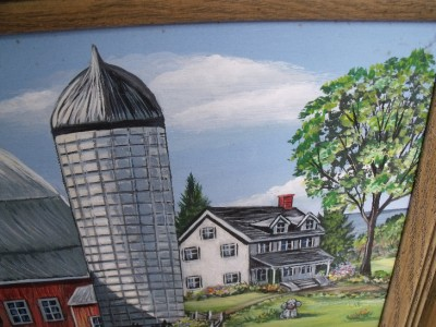 Original Vintage Americana Folk Art Painting Horses Barn Farm Weinperl