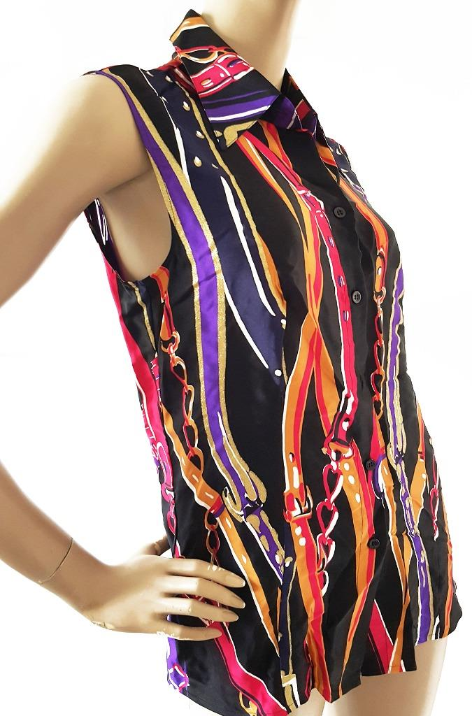 ESCADA designer Ladies 32 Classic Silk Top Buttoned Shirt Blouse Multi-colour