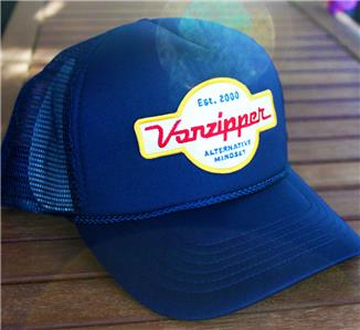 VON ZIPPER Mens Signature Hat Trucker Cap Navy Blue Alternative Mindset NEW b58d2a7447c3