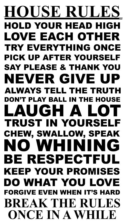 House Rules 17 Rules to Live by Vinyl Wall Art Decal Sticker