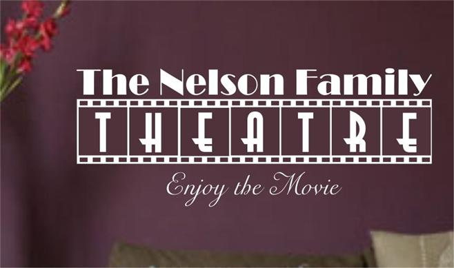 Home Theatre Personalized Vinyl Wall Art Sticker Decal