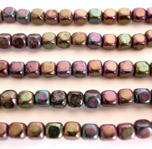 Brown 50  4 x 4 mm Czech Glass Cube Beads Iris