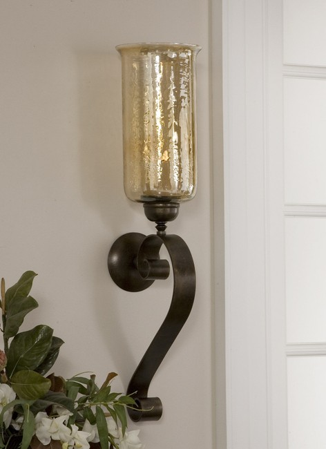 Warm Amber Glass Wall Sconce With Forged Metal Scroll Frame Ships With A  Chunky Ivory Candle Forged Metal Iron Construction For Years Of Enjoyment
