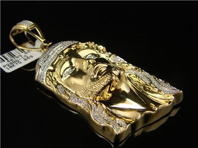 72b182ecd00d Mens Yellow Gold Jesus Face Piece Diamond Cross-1.40 Ct