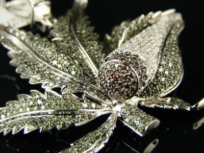 Custom Mens White Gold Finish Marijuana Leaf Xl Diamond