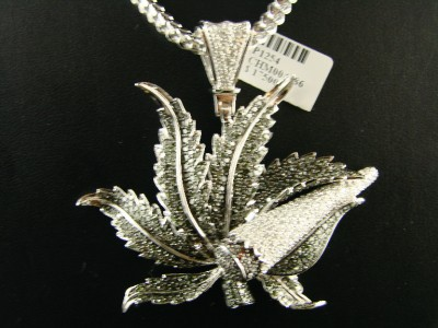 CUSTOM MENS WHITE GOLD FINISH MARIJUANA LEAF XL DIAMOND CHARM PENDANT