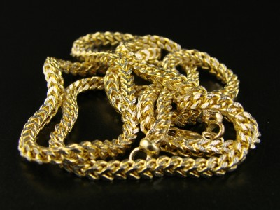 1//20Th 10K Yellow Gold Franco Box Cuban Chain Necklace Mens 30 Inch 3 Mm