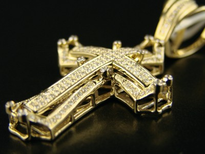 14k mens yellow gold pave diamond cross pendant 10 ct ebay click to view supersized image aloadofball Choice Image