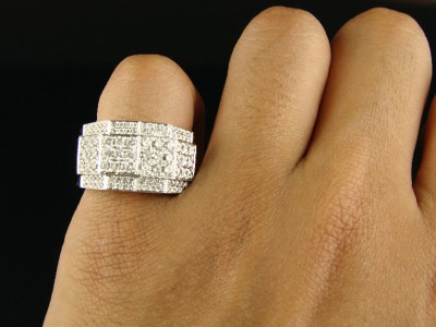 Mens 14K White Gold Round Cut Vs Diamond Pinky Ring 3Ct  7366ee818a