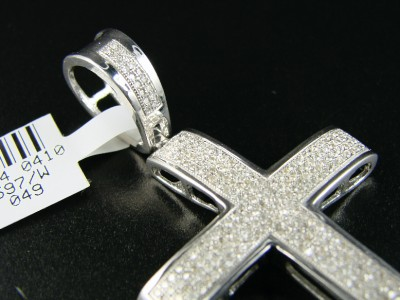 MENS WHITE GOLD FINISH PAVE DIAMOND CROSS PENDANT 1.30