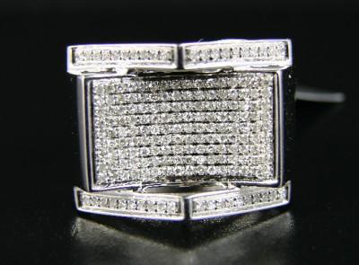 MENS WHITE GOLD FINISH PINKY SI DIAMOND XL RING .75 CT