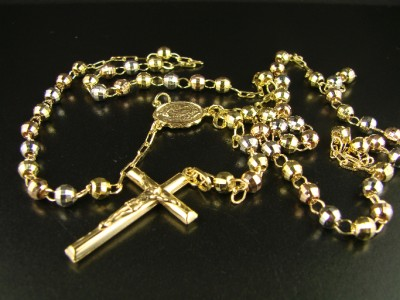 10k TRI COL GOLD ROSARY DIAMOND CUT NECKLACE CHAIN 264 eBay