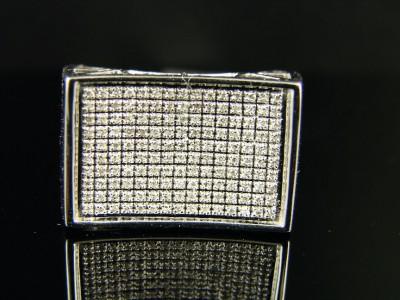 MENS WHITE GOLD FINISH PINKY SI DIAMOND RING .65 CT