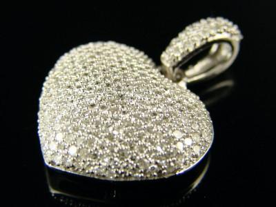 Ladies white gold diamond puffed heart pendant 140 ct ebay white gold diamond puffed heart pendant 140 ct aloadofball Images