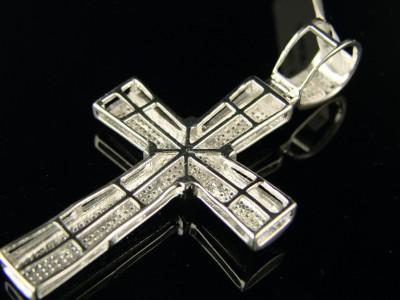 MENS WHITE GOLD FINISH DIAMOND 2.25 INCH CROSS PENDANT