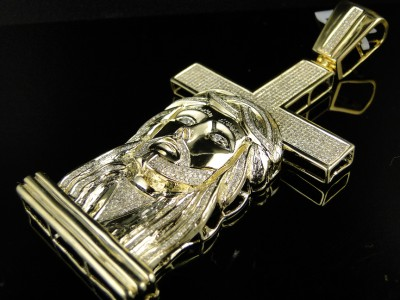 MENS YELLOW GOLD FINISH DIAMOND JESUS FACE CROSS 3.50CT