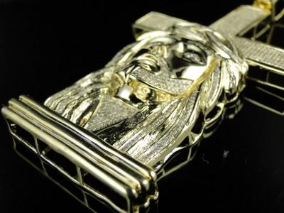 MENS YELLOW GOLD FINISH DIAMOND JESUS FACE CROSS 3.50CT