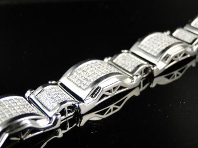 MENS WHITE GOLD FINISH DIAMOND BRACELET LINK 2.50 CT