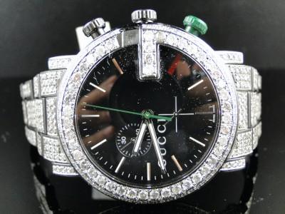 c84e938cc90 Fully Iced Out Mens Diamond Gucci Ya101331 Watch 17 Ct