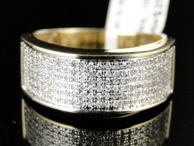 10K MENS/LADIES YELLOW GOLD 8 MM WEDDING BAND REAL DIAMOND RING 1/2 CT