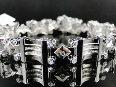 NEW MENS WHITE GOLD FINISH GENUINE DIAMOND DESIGNER BRACELET BANGLE