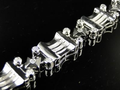 MENS WHITE GOLD FINISH GENUINE DIAMOND DESIGNER BRACELET BANGLE