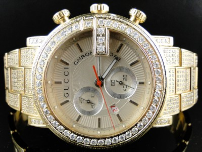 06d7be68f1a Fully Iced Out Mens 10.0 Ct Diamond Gold Finish Gucci Ya101312 Watch ...