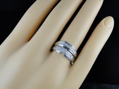 MENS WHITE GOLD FINISH DIAMOND ENGAGEMENT BRIDAL WEDDING RING TRIO SET