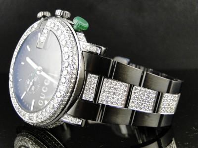 144133046b2 New Custom Mens Diamond Gucci Ya101331 Watch 9 Ct Sides And Band