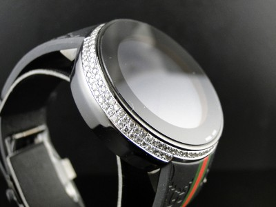d99c110b340 Mens Custom Digital Gucci I-Gucci 2 Row White Diamond Watch YA114207 ...