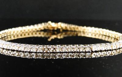 NEW MENS LADIES 1 ROW DIAMOND YELLOW GOLD FINISH TENNIS BRACELET 7 ... 5abac8483